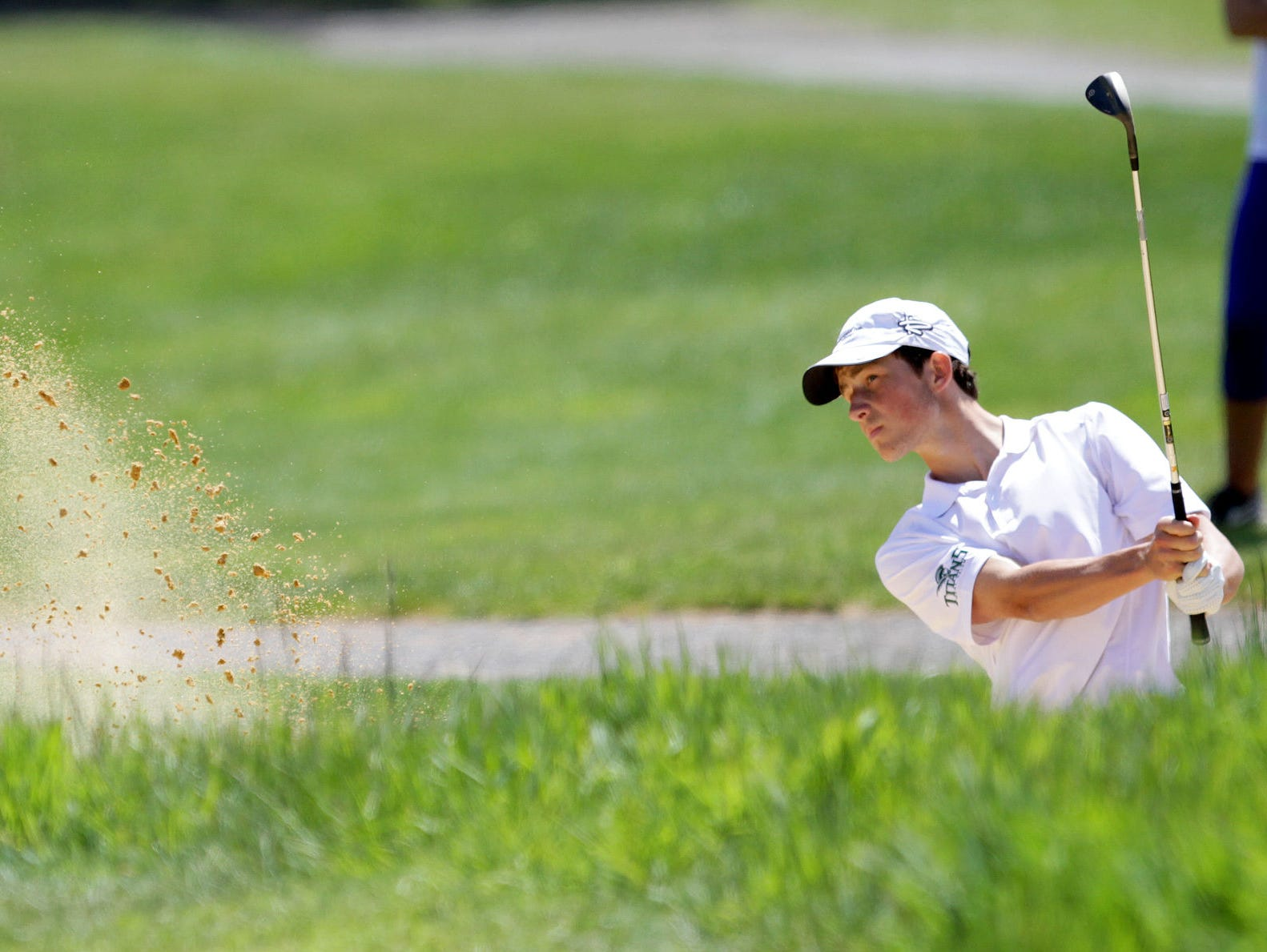 West Salem's Michiel Eyre competes Monday, April 27, in the final regular-season Greater Valley Conference boys golf meet at Creekside Golf Club in Salem.