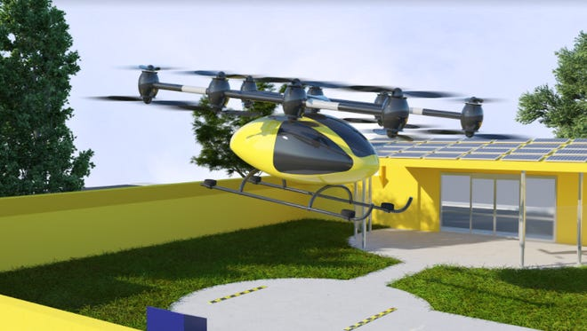 Renderings of a new Pensacola startup business' flying taxi landing pads show the setup and color scheme of the ports and taxi stands.