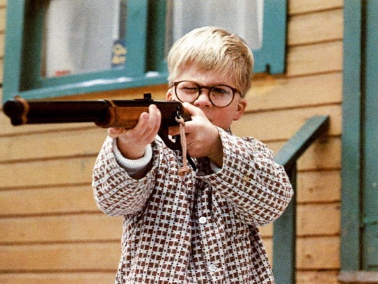 Ralphie (Peter Billingsley) with his brand new Red