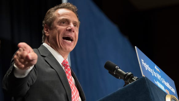 New York Governor Andrew Cuomo speaks during a rally