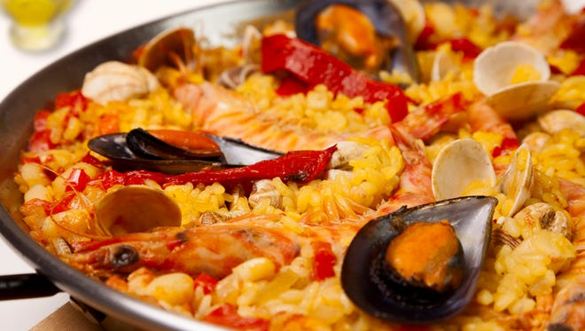 Spanish seafood rice paella