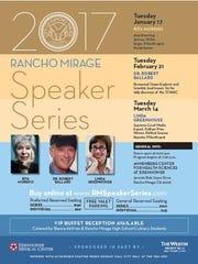The 2017 Rancho Mirage Speaker Series will feature actress Rita Moreno, scientist Robert Ballard and journalist Linda Greenhouse.