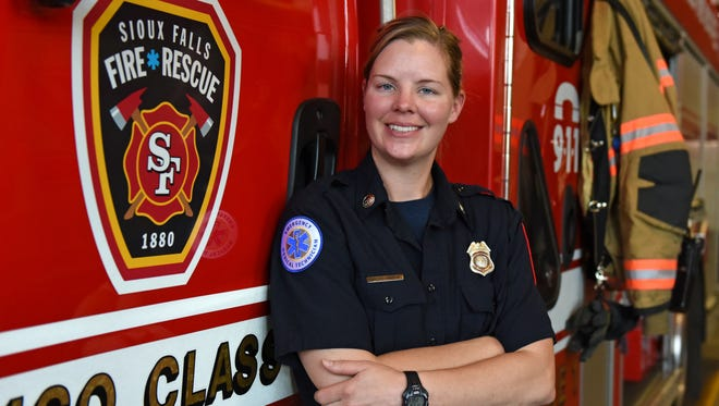 Rachel Van Beek is fire apparatus operator for the Sioux Falls Fire and Rescue in Sioux Falls, S.D., Thursday, June 16, 2016.