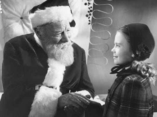 "Edmund Gwenn is Kris Kringle, trying to convince a little girl (Natalie Wood) that he's for real in ""Miracle on 34th Street"" (1947)."