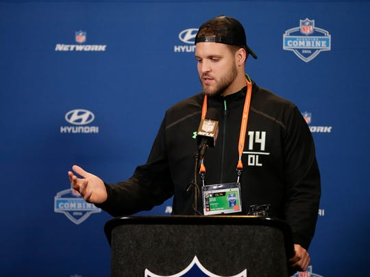 Ohio St. offensive lineman Taylor Decker responds to a question during a news conference at the NFL football scouting combine Wednesday, Feb. 24, 2016, in Indianapolis.