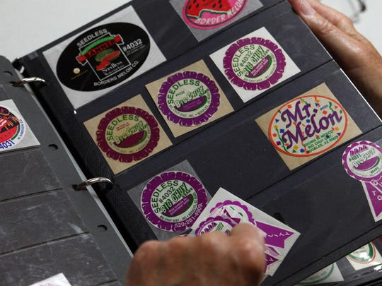 A collection of sales labels from growers that were slapped onto the outside of watermelons. Monterey County Stamp Club, Aug. 24, 2017