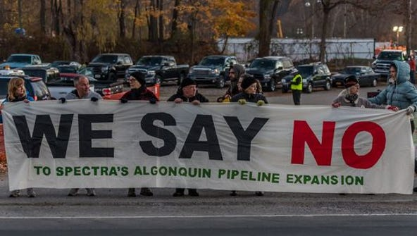 Opponents of Spectra Energy's Algonquin pipeline gathered