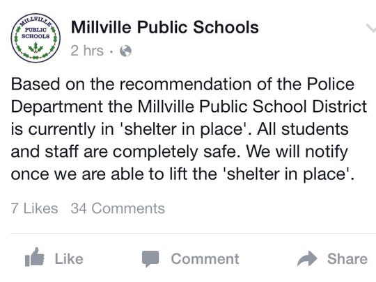 "An update regarding the ""shelter in place"" is issued"