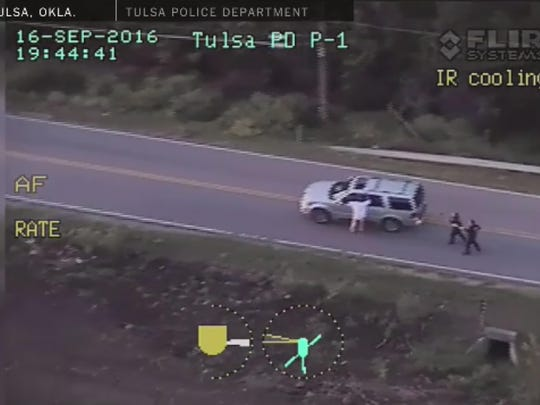 The fatal shooting on September 16 of Terence Crutcher was recorded by police car dashboard cameras and a police helicopter camera in that city in Oklahoma.