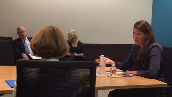 Kentucky Secretary of State Alison Lundergan Grimes meets with The Courier-Journal editorial board Thursday.