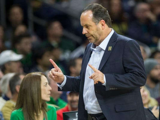 Notre Dame head coach Mike Brey looks on from the bench during the second half of an NCAA college basketball game against Notre Dame, Saturday, Dec. 30, 2017, in South Bend, Ind. (AP Photo/Robert Franklin)