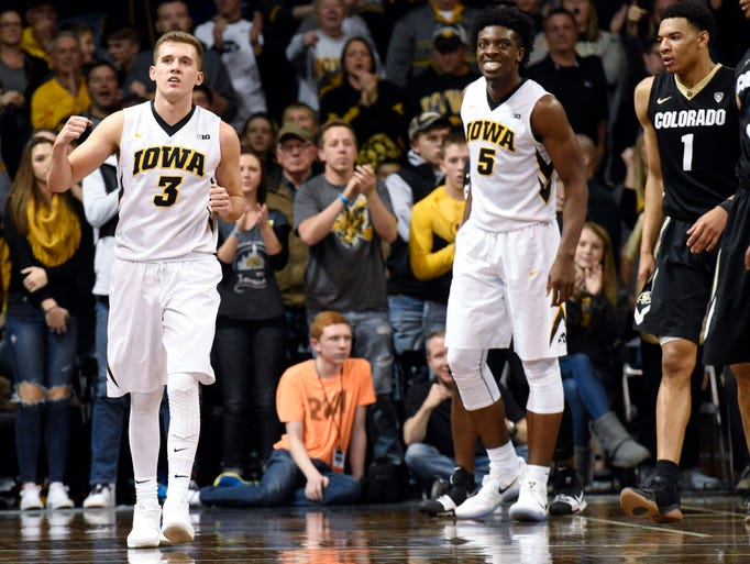 Iowa guard Jordan Bohannon (3) pumps his fist during