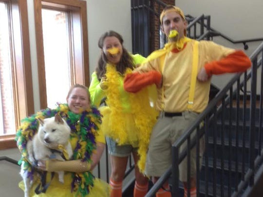 "Pictured are 2016 ""History Hunt"" participants, Case Quackers , who won in the judged category for Best Team Costume."