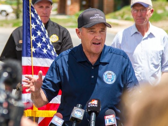 Governor Gary Herbert talks to the media about the