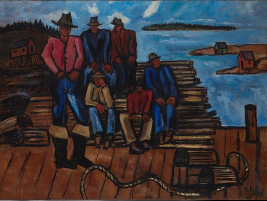 "Marsden Hartley, ""Lobster Fishermen,"" 1940–41; oil"