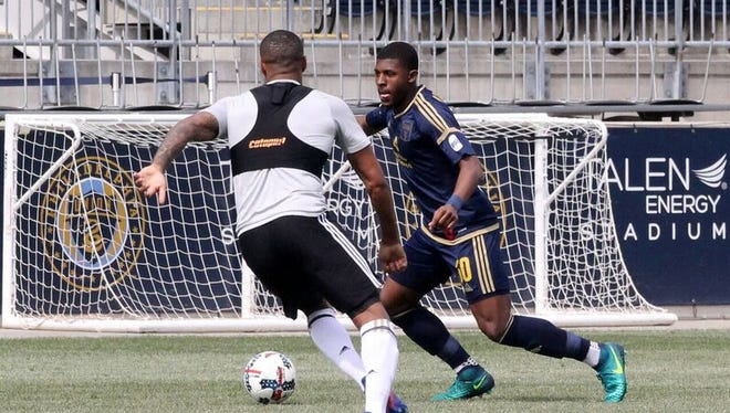 Bear resident Mark McKenzie (right) in action here for the Philadelphia Union Academy team at Talen Energy Stadium.