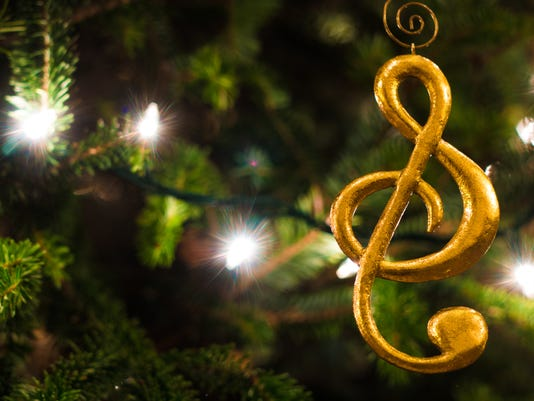 Gold Treble Clef Ornament with Christmas Tree