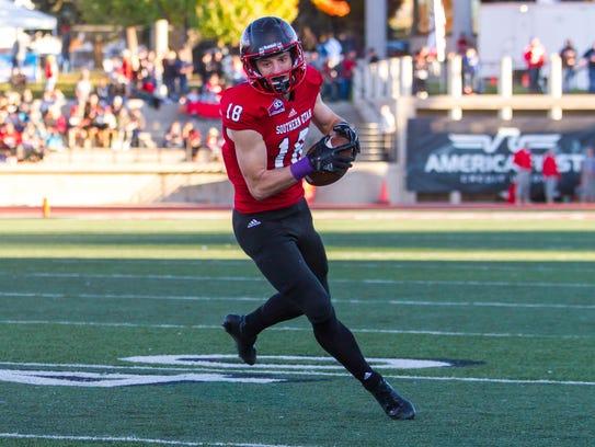 Southern Utah wide receiver Landen Measom (18) catches