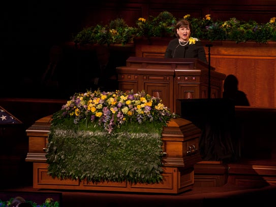 Church leaders address the congregation at the funeral