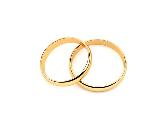 Gold Wedding Rings.On White