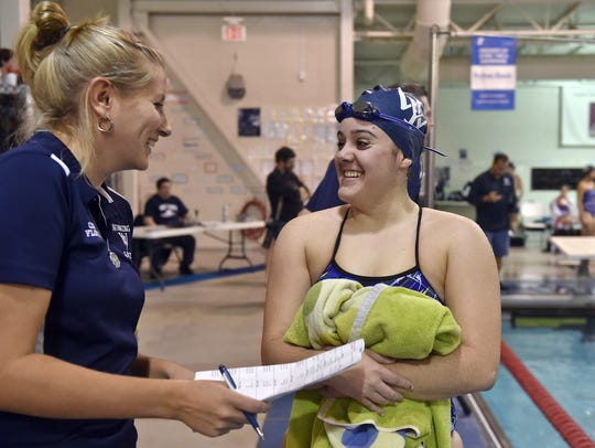West York's Maddi Stoner checks in with head coach