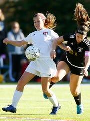 Morris Tech's Ally Bianchi controls the ball vs. Bergen Tech's Zoe Diktas  in the NJTAC girls soccer tournament at  Veterans Memorial Park. October 27, 2017. Denville, New Jersey