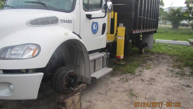 Eighteen tires were stolen from Martin County vehicles in a fenced compound in Stuart.