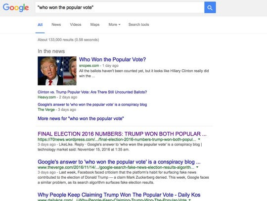 """A search on the phrase """"who won the popular vote"""" just"""