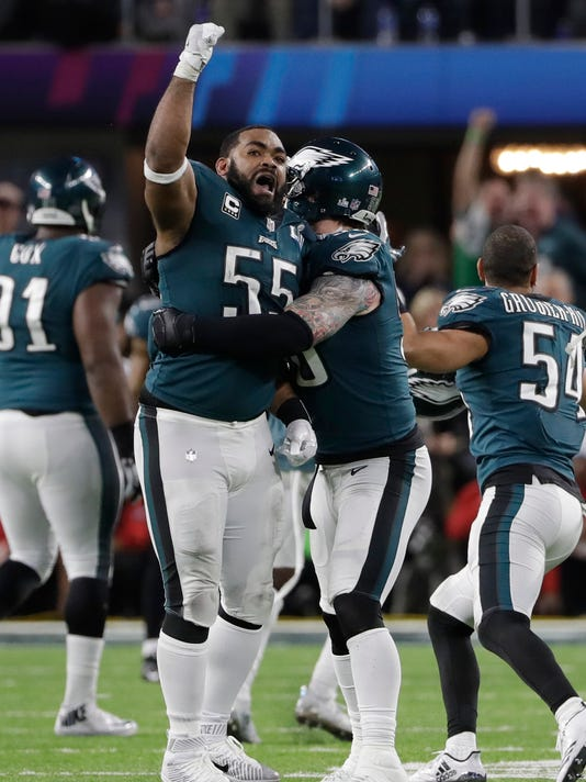 Eagles defensive end Brandon Graham celebrates after causing a fumble by  Patriots quarterback Tom Brady late in the fourth quarter of Super Bowl  LII a5cf824be