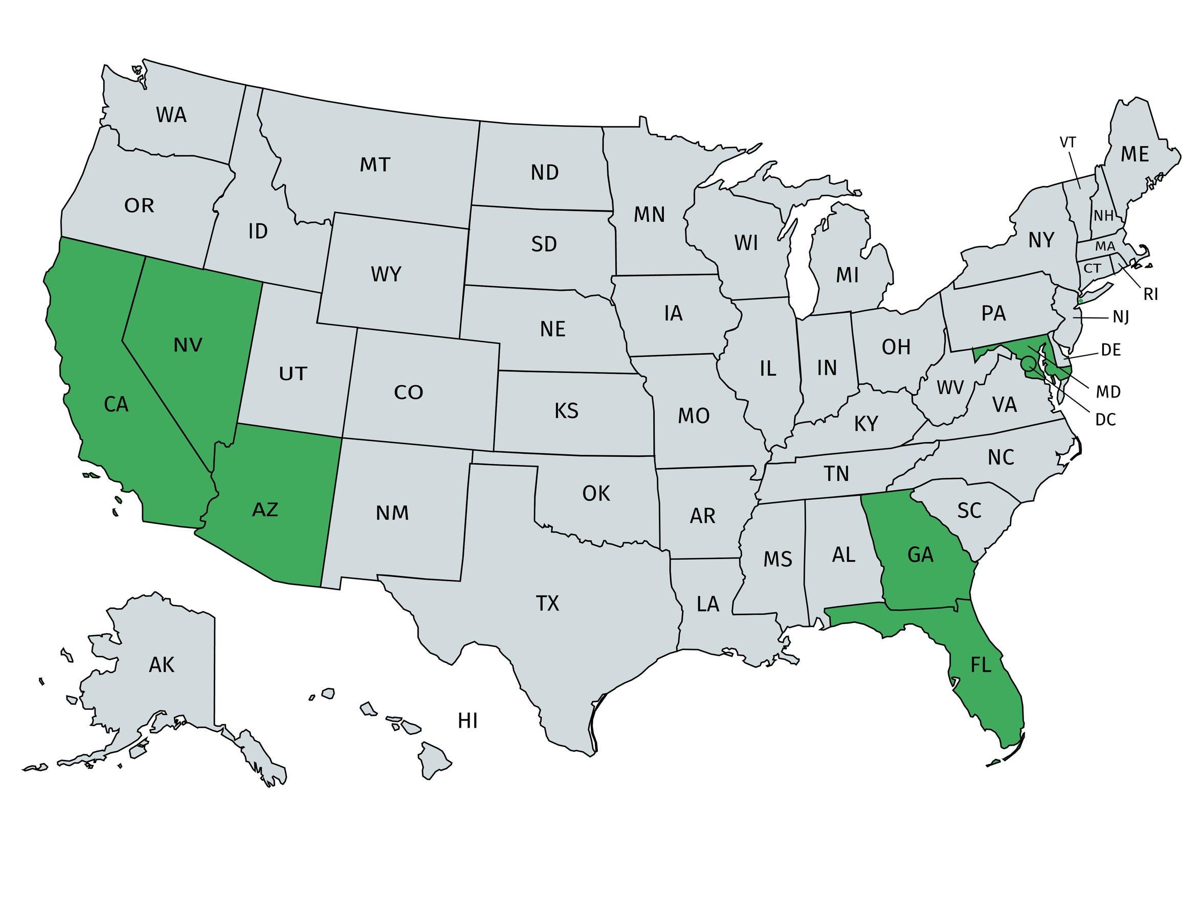 The states in green (California, Nevada, Arizona, Florida,