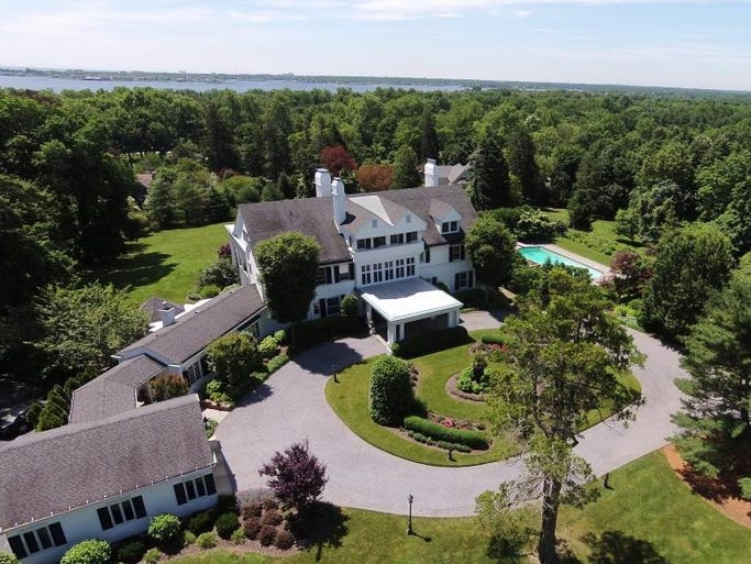 An aerial shot of the 10,000-square-foot mansion at 1 Allencrest Drive, Rumson.