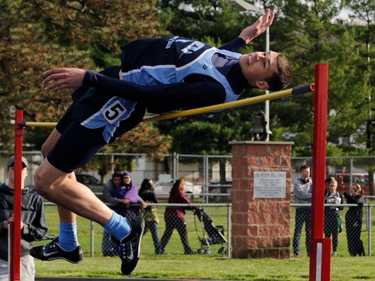 Adena's Brian Hall competes in the high jump Thursday