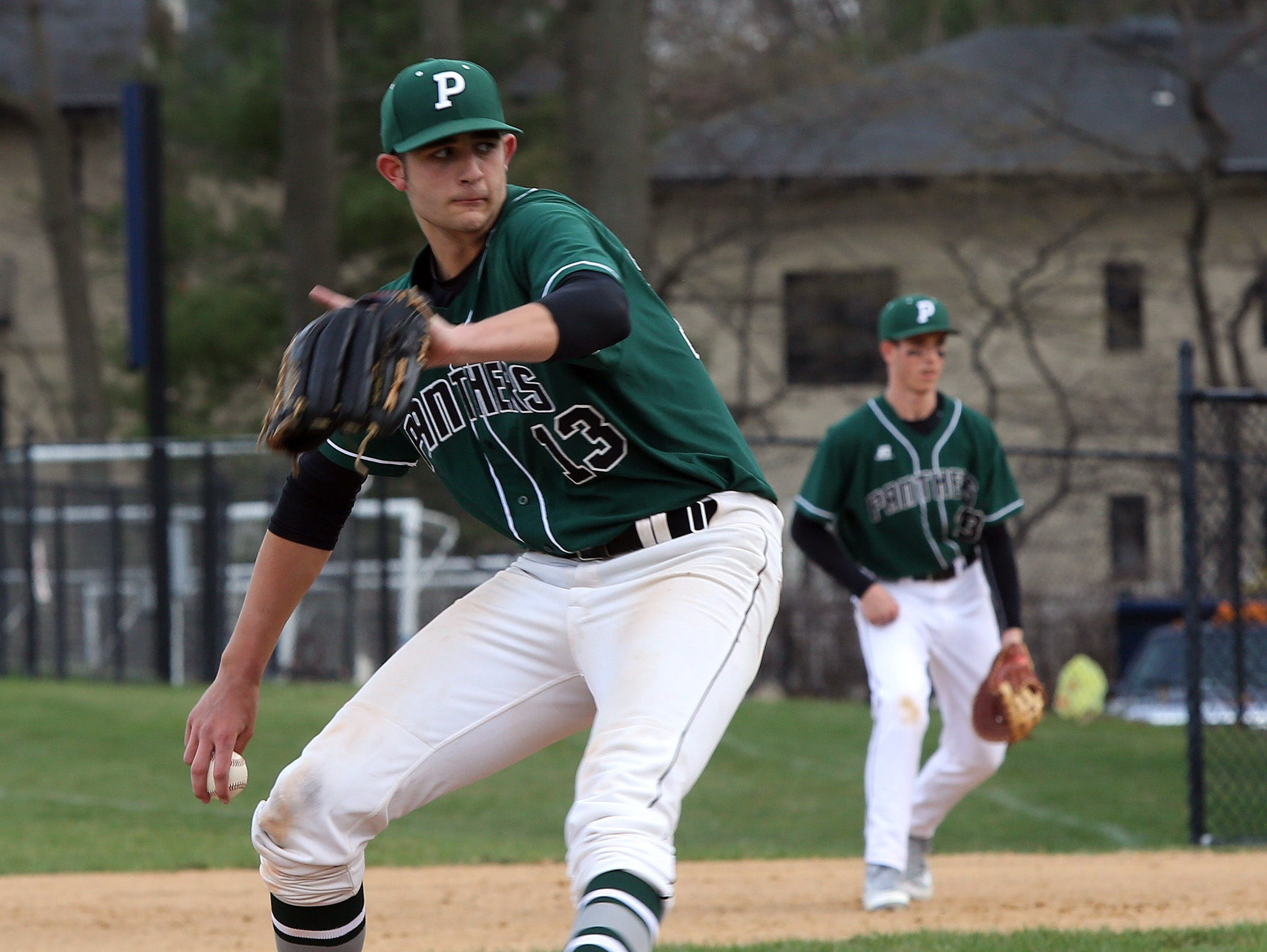 Pleasantville's Drew Marino pitches against Eastchester during baseball game at Eastchester High School on March 31, 2016. Eastchester defeated Pleasantville 2-1.
