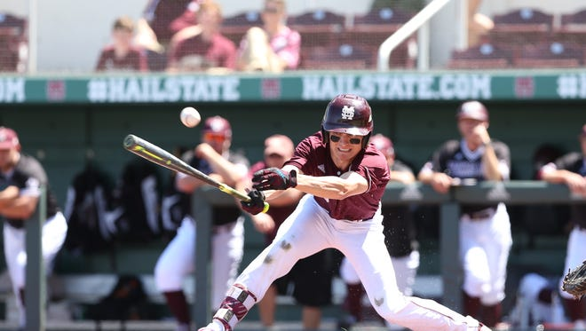 Mississippi State freshman Jake Mangum swings at a pitch during his team's 10-5 loss on Sunday.