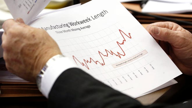 This is file photo showing a lawmaker reviewing charts.