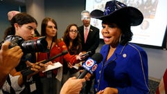 Rep. Frederica Wilson (D-Fla.) speaks to reporters