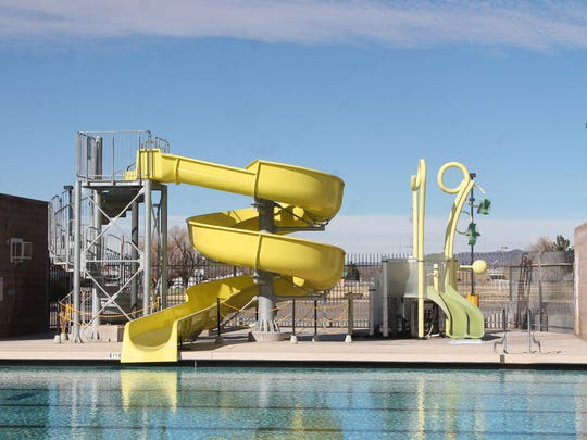 The pool and splash pad at the Alamogordo Family Recreation Center Pool.