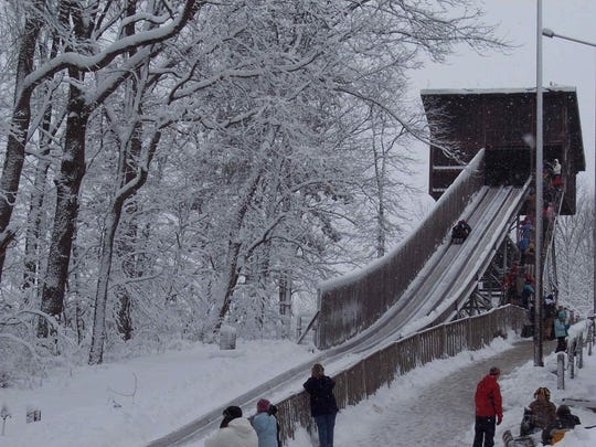 Pokagon State Park has a quarter-mile refridgerated toboggan track.
