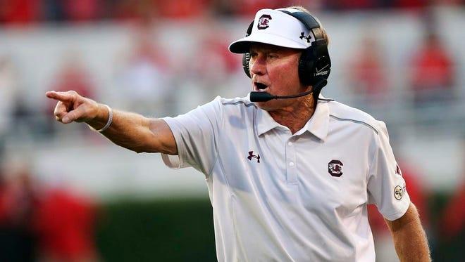 Steve Spurrier resigned as South Carolina coach on Monday.
