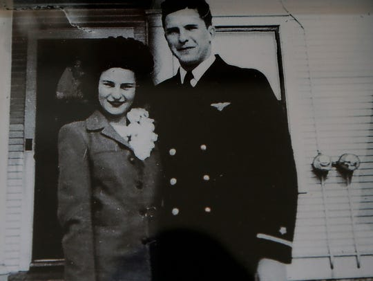 Chuck Franzke with his bride, Bev, after they were married in East Troy on Feb. 3, 1945.