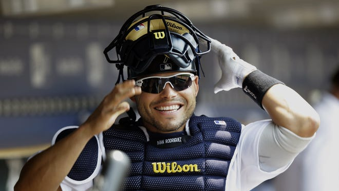 Tigers catcher Ivan Rodriguez gets ready to play a game against the White Sox at Comerica Park in Detroit on July 27, 2008.