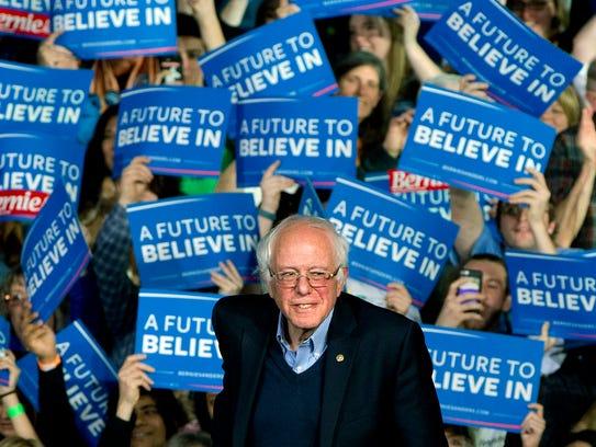 Sen. Bernie Sanders attends a rally March 1 in Essex