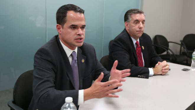 Editorial Board endorsement interview with Sen. David Carlucci, D, left, and Thomas DePrisco, R. Candidates for NYS Senate District 38 Oct. 13, 2016.