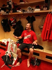 In this January 13, 2013, Martin Brodeur sits in the locker room at the end of practice.