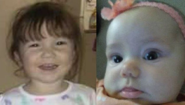 1-year-old Isabella Duvall and 4-month-old Abbey Engle have been missing since Friday. Police said their father, 44-year-old David Engle, is also missing.
