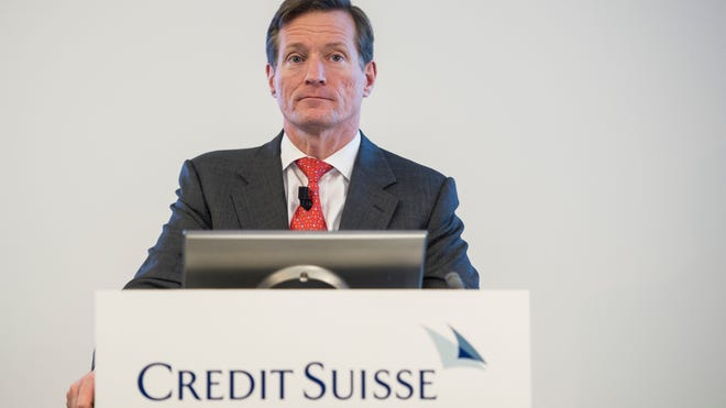Brady Dougan, CEO of Swiss bank Credit Suisse, appears at a press conference in Zurich, Switzerland, on Feb. 6.