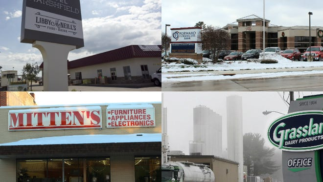 Hotel Marshfield, Forward Financial Bank, Mitten's Home Appliance and Grassland Dairy Products