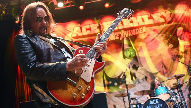 Ace Frehley, seen here in Las Vegas in early March, is on his way home to Southern California after brief hospitalization for exhaustion and dehydration in Pennsylvania.