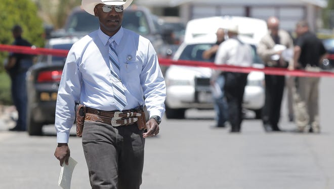 The Texas Rangers arrive on the scene of an officer involved shooting Monday in the 10900 block of Dizzy Dean Place in Northeast El Paso.