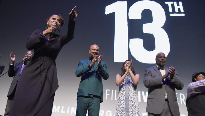 "Director  Ava DuVernay speaks at the 54th New York Film Festival Opening Night Gala Presentation and world premiere of her documentary ""13th"" on  Sept. 30 in New York City."